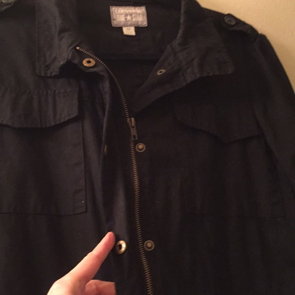 d065032ad757 Converse Jackets   Blazers - Converse black cotton zipper snaps jacket size  med